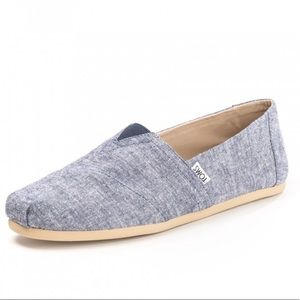 Toms Ortholite Classic Fit Navy Slub Chambray NEW